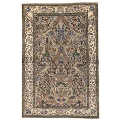 Vintage Persian Qum Pictorial Tree of Life Area Rug with Arts and Crafts Style