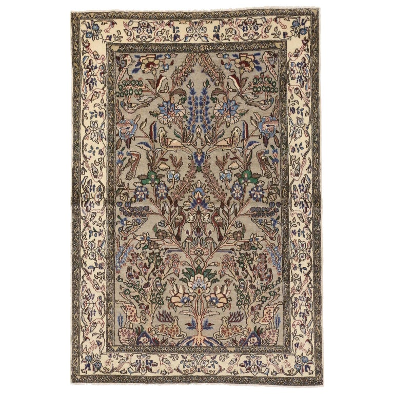 Vintage Persian Qum Pictorial Tree Of Life Area Rug For