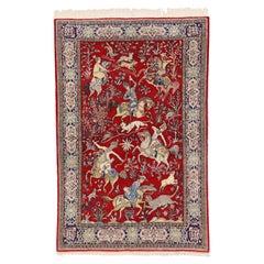 Vintage Persian Qum Pictorial Rug, Medieval Style Tapestry, Hunting Carpet