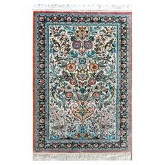 Vintage Persian Qum Silk Rug