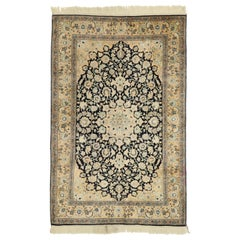 Vintage Persian Qum Silk Rug with Art Nouveau Rococo Style
