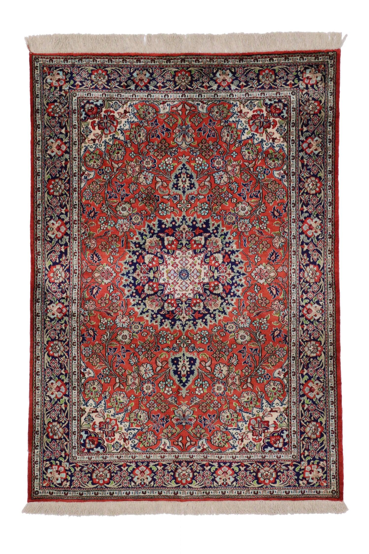 Vintage Persian Qum Silk Rug With