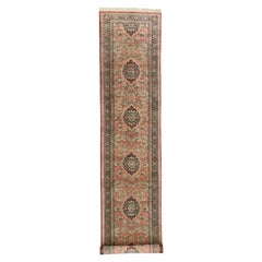 Vintage Persian Qum Silk Runner with Romantic French Rococo Style