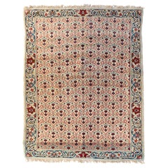 Vintage Persian Red Ivory White Blue Floral Kashan Area Rug