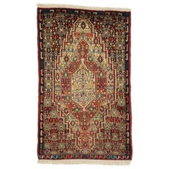 Vintage Persian Sanadaj Accent Rug with Art Deco Style