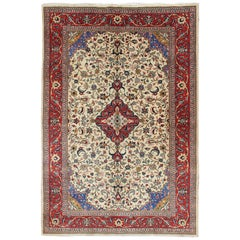Vintage Persian Sarouk Rug with All-Over Floral Design in Cream and Red