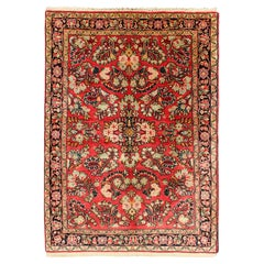 Vintage Persian Sarouk Rug with All-Over Floral Design in Rich Red, Onyx Black