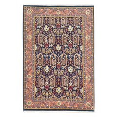 Vintage Persian Sarouk Rug with Colored Botanical Details on Navy Blue Field