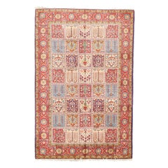 Vintage Persian Sarouk Rug with Colored Tiles with Floral Details