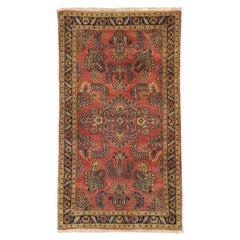 Vintage Persian Sarouk Rug with Romantic Jacobean Style
