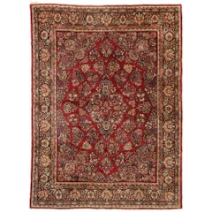 Vintage Persian Sarouk Rug with Traditional English Tudor Manor Style