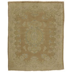 Vintage Persian Sarouk Rug with Warm, Neutral Colors