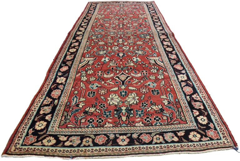 Vintage Persian Sarouk Runner With Traditional Style