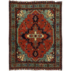 Vintage Persian Serapi Rug Design with English Gothic Downtown Abbey Style