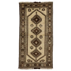 Vintage Persian Shiraz Tribal Rug with Mid-Century Modern Style and Warm Colors