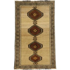 Vintage Persian Shiraz Accent Rug with Modern Tribal Style
