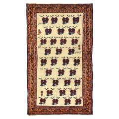Vintage Persian Shiraz Accent Rug with Romantic Art Deco Style