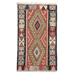 Vintage Persian Shiraz Kilim Rug with Boho Chic Tribal Style