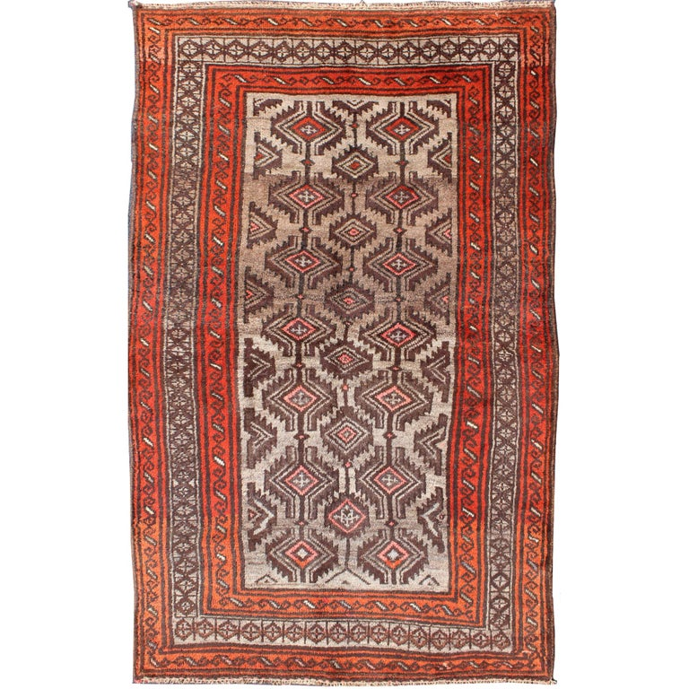 Vintage Persian Shiraz Rug In Burnt