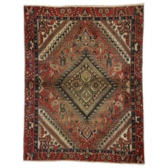 Vintage Persian Shiraz Rug with Rustic Traditional Style
