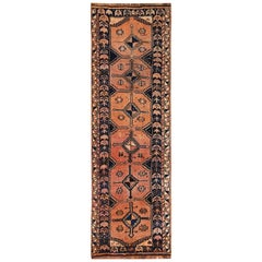 Vintage Persian Shiraz Worn Down Terracotta Wide Runner Handmade Rug