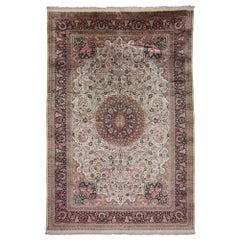 Vintage Persian Silk Qum Rug with European Romance Style in Soft Colors