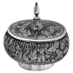 Vintage Persian Solid Silver Lidded Box / Bowl, Iran, 1940