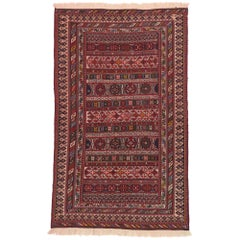 Vintage Persian Soumak Rug with Southwestern Desert Boho Tribal Style