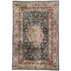 Vintage Persian Style Chinese Accent Rug with Traditional Design