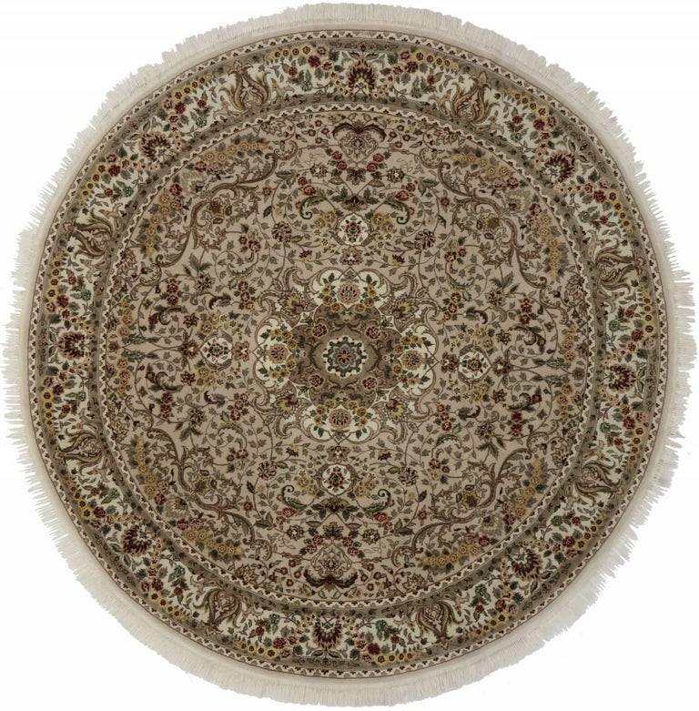 Vintage Persian Style Round Area Rug With Tabriz Design