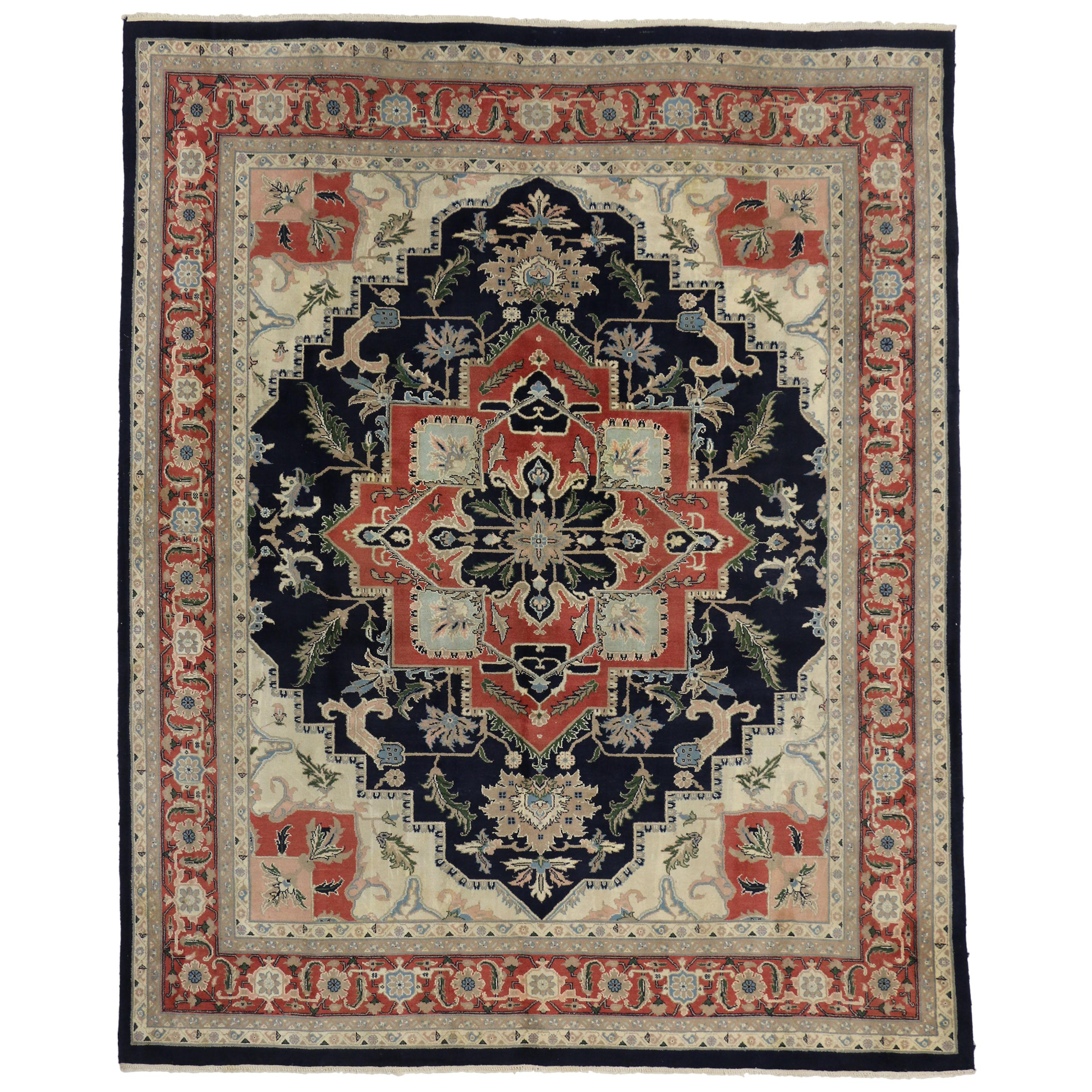 Vintage Persian Style Rug with Tabriz Design