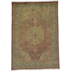 Vintage Persian Tabriz Area Rug with Medallion Design and Traditional Style