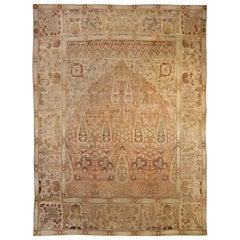 Antique Persian Tabriz Handwoven Wool Rug