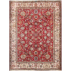 Vintage Persian Tabriz Carpet with Bright Red Field and Ivory Border