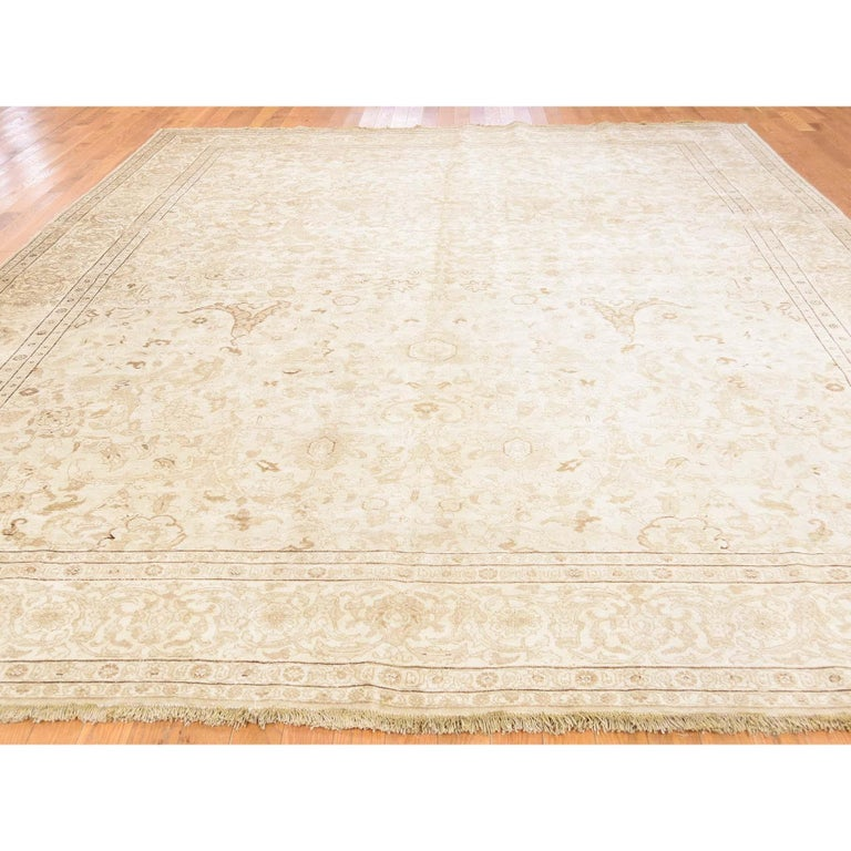 Afghan Vintage Persian Tabriz Full Pile Not Worn Hand Knotted Rug