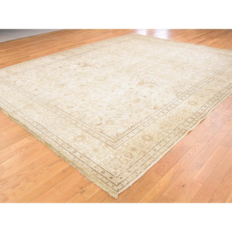 Hand-Knotted Vintage Persian Tabriz Full Pile Not Worn Hand Knotted Rug