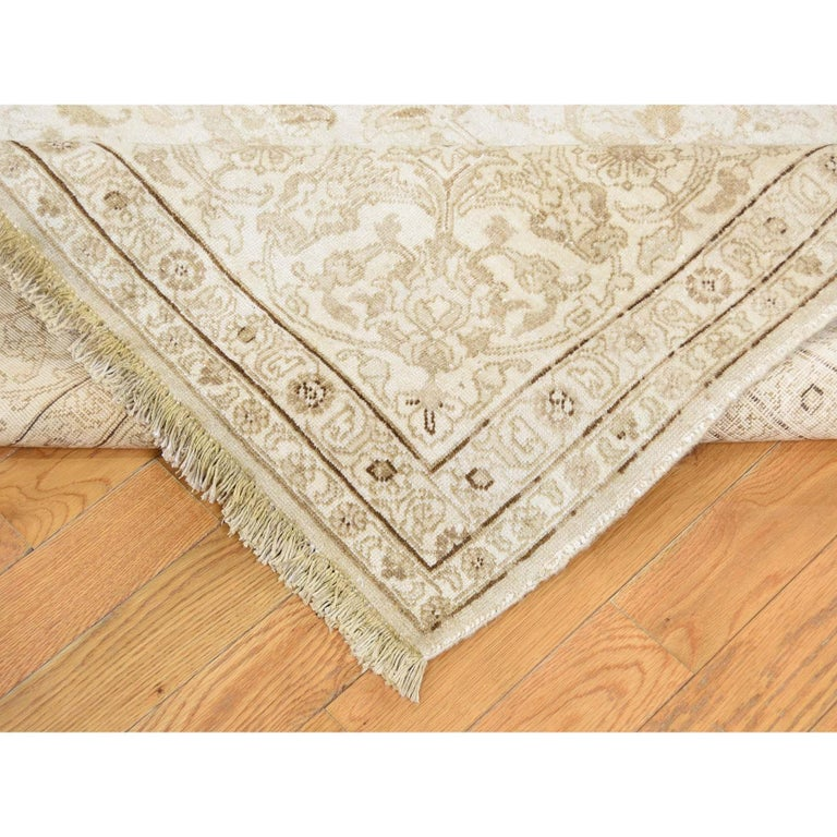 Wool Vintage Persian Tabriz Full Pile Not Worn Hand Knotted Rug