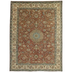 Vintage Persian Tabriz Gallery Rug with Hunting Scene and Medieval Style