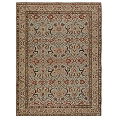 Vintage Persian Tabriz in Shades of Deep Terracotta, Blue, Gray and Beige Carpet