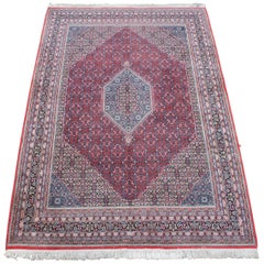 Vintage Persian Tabriz Mahi Hand Knotted Wool Medallion Area Rug Carpet