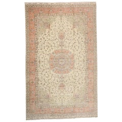 Vintage Persian Tabriz Palace Rug with Romantic French Provincial Rococo Style