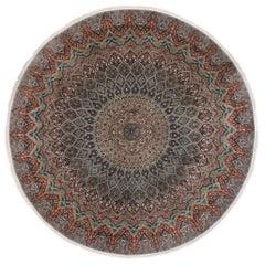 Vintage Persian Tabriz Round Mandala Rug with Art Nouveau Rococo Style