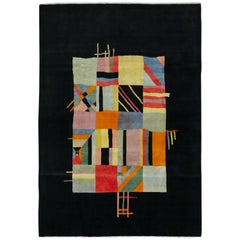 Vintage Persian Tabriz Art Deco Rug Inspired By Edward McKnight Kauffer