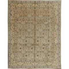 Vintage Persian Tabriz Rug with all over design in light colors