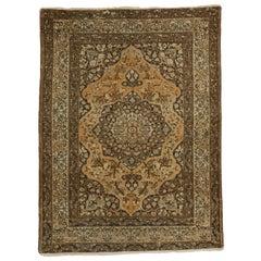 Vintage Persian Tabriz Rug with Craftsman Tuscan Style