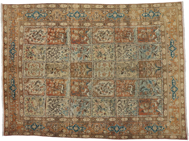 75605, vintage Persian Tabriz rug with garden design. This hand-knotted wool vintage Tabriz rug showcases a beautiful garden design. Featuring a compartmental panel design display a grid arrangement of five columns and six rows of rectangular tiles