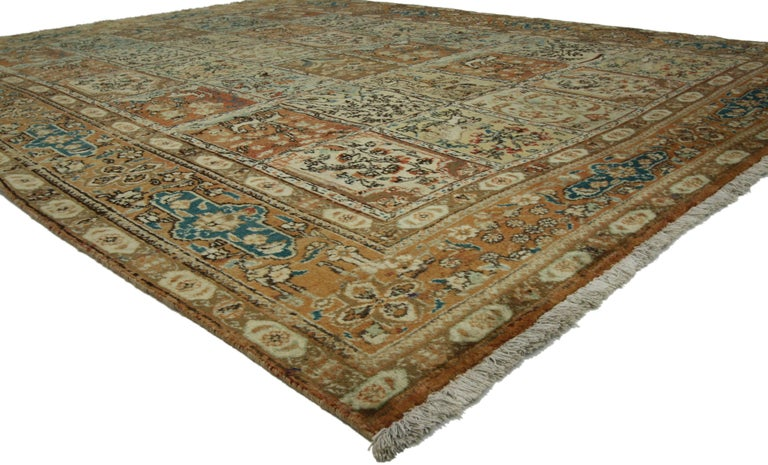 Hand-Knotted Vintage Persian Tabriz Rug with Garden Design For Sale