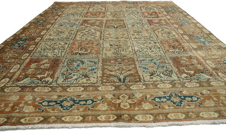 Vintage Persian Tabriz Rug with Garden Design In Good Condition For Sale In Dallas, TX