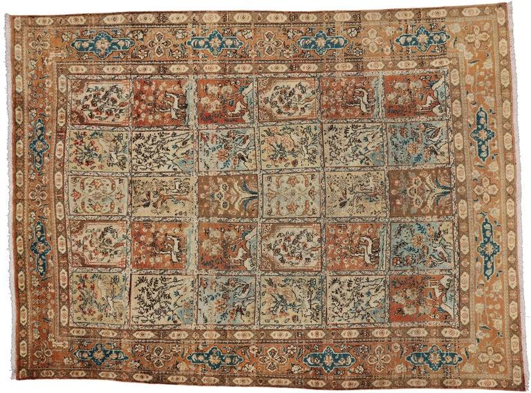Wool Vintage Persian Tabriz Rug with Garden Design For Sale