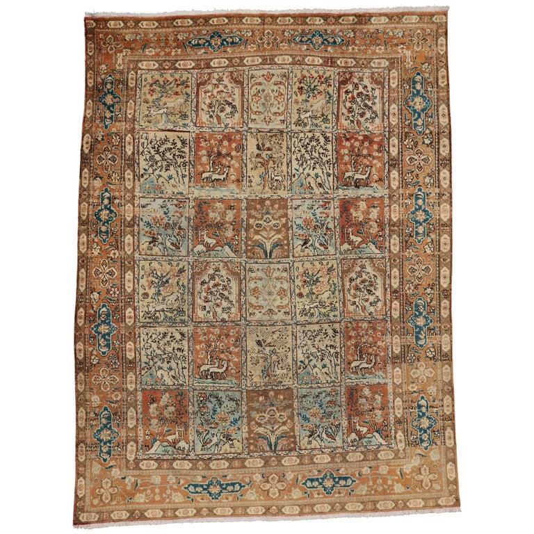 Vintage Persian Tabriz Rug with Garden Design For Sale